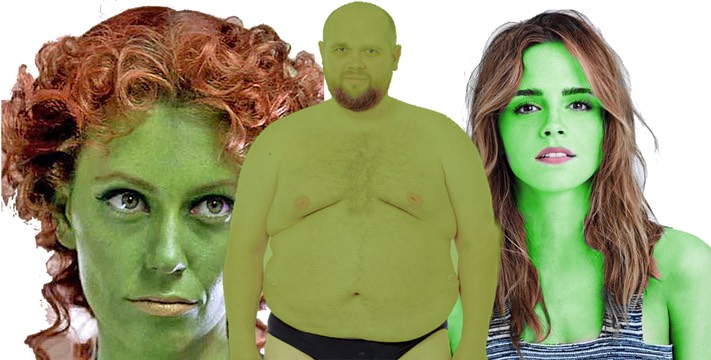 Green people collage